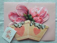 Pink Rose 3D Card Love Wedding Birthday Valentines Day Anniversary, NIP