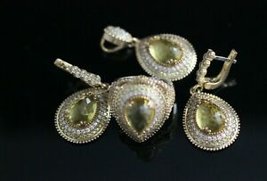 Turkish Handmade Sterling Silver 925 Peridot Set Ring Earring Pendant 7 8 9