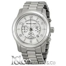 Authentic Michael Kors MK8086 Chronograph Silvertone Bracelet Watch