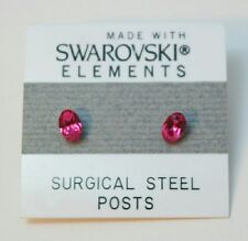 5mm Small Pink Crystal Oval Stud Earrings Made with SWAROVSKI ELEMENTS Gift