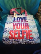 """New Claire's """"Love Your Selfie"""" Tote Bag With Blue White Green Floral Background"""