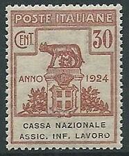 1924 REGNO PARASTATALI CASSA NAZIONALE LAVORO 30 CENT LUSSO MNH ** - M37