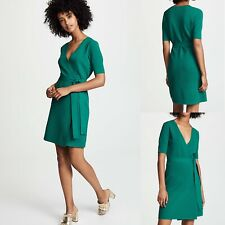 £420 Iconic DVF Dress, Diane Von Furstenberg Dress, Pine Green Wrap Dress, L