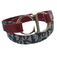 Authentic Christian Dior Trotter Pattern Belt Navy Canvas Leather #75 GS01730