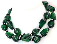 Kenneth Jay LANE KJL Glass Green Resin Gripoix Necklace Statement 35in Vintage