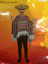 Adult Men Mexican Poncho Costume Wild West Cowboy Bandit Blanket Party Dress Up5
