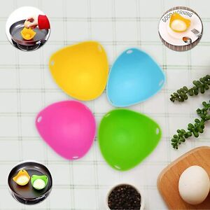 Silicone 4 packs Egg Poacher Egg Poaching Cups Non-Stick for Microwave Stovetop