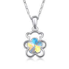 Fashion Jewelry Silver Charms White AB Crystal Rhinestone Bear Pendant Necklace