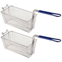 """2Pcs 13x6x6"""" Deep Fryer Basket w/ Handle Commercial Restaurant Kitchen Chip Fish"""