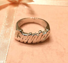NAME RING PERSONALIZED STERLING SILVER ANY NAME *ROUND FACE* USA SELLER