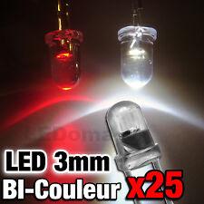710/25# LED 3mm bicouleur rouge  blanc 25pcs- spécial train Jouef , Roco