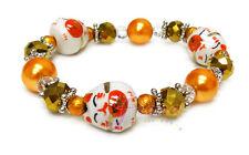 "Gold Lucky Cat Maneki Neko Porcelain Glass Stretch Bracelet 7.5"" New w Gift Bag"