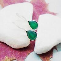 Indischer Smaragd grün Tropfen Design Ohrringe Ohrhänger 925 Sterling Silber neu