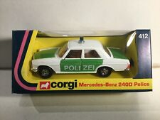 Vintage Corgi 412 Mercedes Benz 240D Police Near Mint Within Its Original In Box