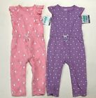 NWT Carter's lot of 2 Coveralls Bunnies Owls Pink Purple Jumpers size 18 months