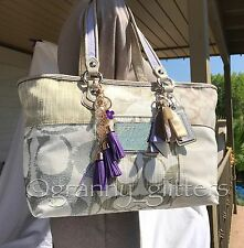 Coach L Poppy Patchwork Limited Edition Logo Gold/Silver Handbag Tote 16926