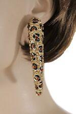 New Women Earrings Set Gold Metal Hook Long Leopard Nail Brown Black Rhinestones