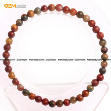 Natural Picasso Jasper Energy Healing Stone Beads Beaded Stretch Bracelet 7""