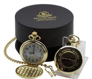 SIGNED WINSTON CHURCHILL  Gold Pocket Watch in Luxury Gift Case WW2 Politics