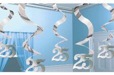 5 x 2ft 25th Birthday/Silver Wedding Anniversary Swirls Banner Party Decorations