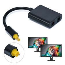 1 In 2 Out Dual Port Digital Optical Toslink Adapter Splitter Fiber Audio Cable