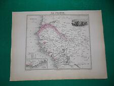 SENEGAL ET COTE DE GUINEE Edition 1885, Carte + fiche descriptive