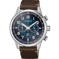 Citizen Eco Drive CA4420-13L Blue Dial Leather Strap Men Chronograph Solar Watch