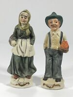"Vintage Figurines. Elderly Couple With Baskets Of Fruit. 6"" Tall Set."