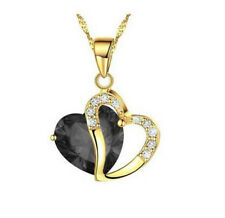 Fashion Womens Heart Black Crystal Rhinestone Gold Chain Pendant Necklace NEW