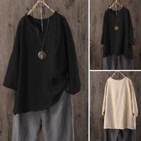 Women Plus Size Casual Summer Beac Cotton Linen Blouse Shirt V-Neck Oversize Top