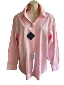 NEW WT Brooks Brothers - Size 16 W - Non Iron Pink Women's Fitted Stretch Shirt