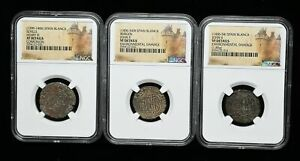 Lot of 3 NGC Certified coins from Medieval Spain