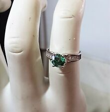 Green Diamond Engagement Ring White Diamond Accents 1.24 Ctw VS2-Si1 SZ 6.25 NWT