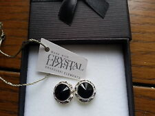 Genuine Swarovski Elements Gift Boxed Jet Black Stud Earrings 13mm
