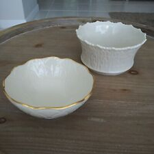 Lenox Ivory Embossed Candy Nuts Bowls Gold Trim Usa Lot of 2