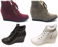 Women's New Hidden Wedge Lace Up Side Zip Accent Sneakers Boots Shoes Sz 5-10