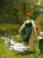 Julien Dupre In the Meadow Fine Art Print on Canvas Home Decor Giclee Small 8x10