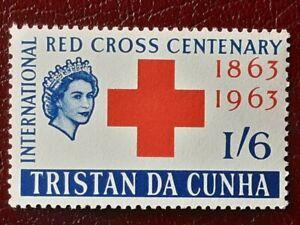 TRISTAN DA CUNHA SG 70 MNH 1964 Red Cross Variety Error DAMAGED CROWN Listing 2