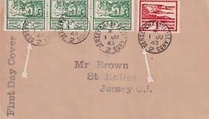 JERSEY WARTIME 1 JUNE 1943 1/2d x 3 & 1d SCENES STAMPS FIRST DAY COVER UERSEY