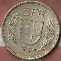 1932 Switzerland 5 Francs~  83.5% Silver- Pretty Nice~