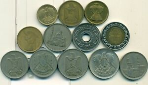 12 DIFFERENT COINS from EGYPT (12 TYPES/7 DENOMINATIONS/1960-2010)...Lot #2