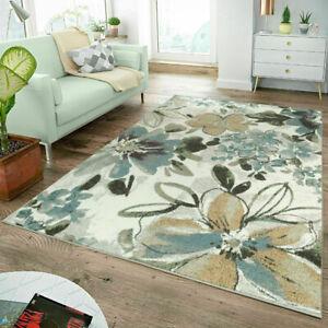 Cottage Style Rugs Floral Flowers Blue Living Room Bedroom Carpets Pastel Mat