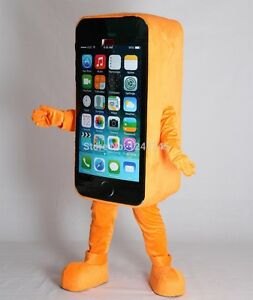 Advertising Orange Mobile Cell Phone Mascot Costume Cosplay Dress Adult Size