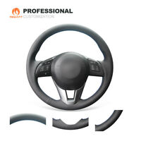 DIY Black Leather Steering Wheel Cover for Mazda 2 CX-5 Mazda 3 Mazda 6 Scion iA