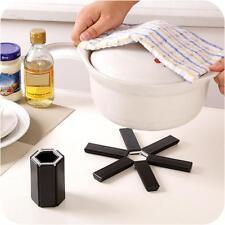 Black Foldable Non-slip Heat Resistant Pad Trivet Pan Pot Holder Mat Kitchen NEW