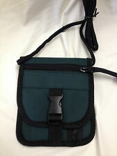 Dark Green Travel Bag with Neck Strap 5x6 inches closed Stores Money Passport