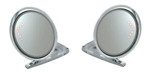 NEW 1965-1966 Ford Mustang Outside Mirrors Chrome with LED Turn Signal Arrow Pr