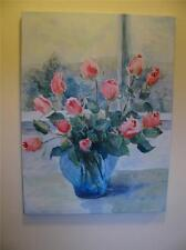 Large Judy Buswell Roses in Vase, Giclee Print