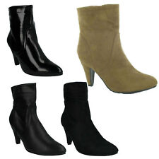 SALE LADIES SPOT ON HEELED ZIP UP CASUAL WINTER ANKLE BOOTS SHOES SIZE F5678