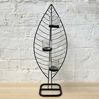 Feather Shaped Black Metal Decorative Multi Glass Tea Light Votive Candle Holder